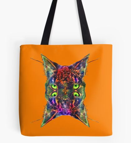 Artificial neural style Space galaxy mirror cat Tote Bag
