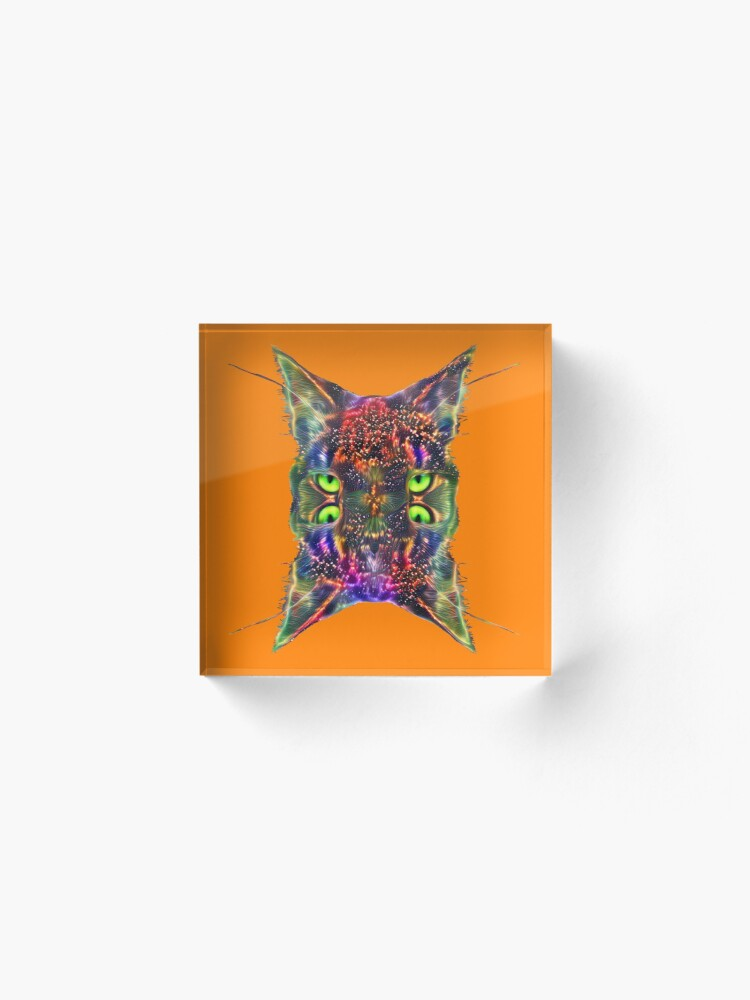 Alternate view of Artificial neural style Space galaxy mirror cat Acrylic Block