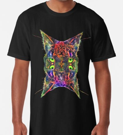 Artificial neural style Space galaxy mirror cat Long T-Shirt