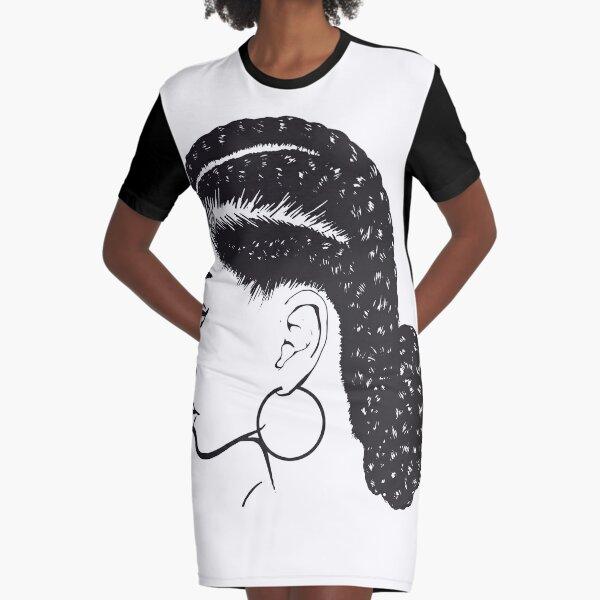 Black Woman Braids Hairstyle African American Beauty Salon Graphic T-Shirt Dress