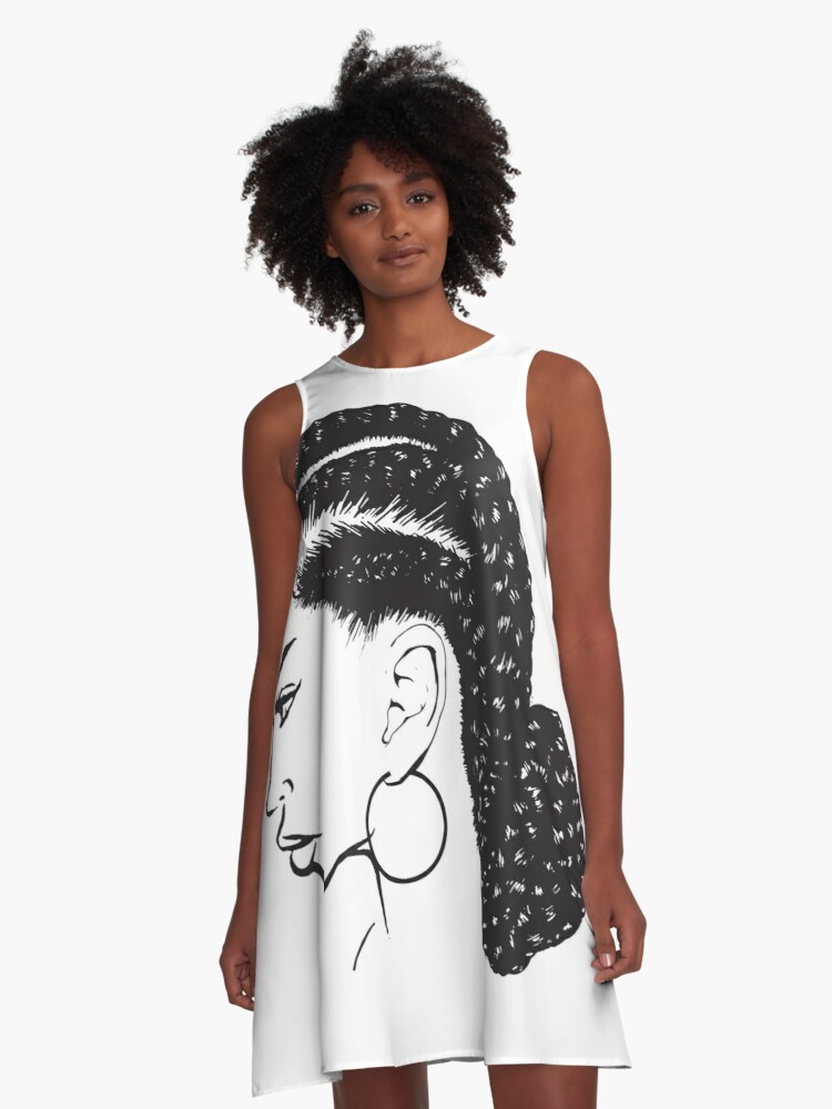 Black Woman Braids Hairstyle African American Beauty Salon A Line Dress By Designsbyaymara Redbubble