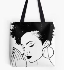 8d06c7fc35 Black Woman Praying African American Nubian Princess Queen Tote Bag
