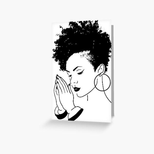 Black Woman Praying African American Nubian Princess Queen  Greeting Card