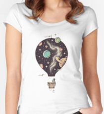 Hot air balloon Art / Space Style  Women's Fitted Scoop T-Shirt