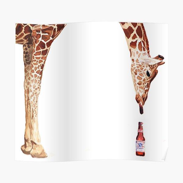 """Licker with Beer"" Giraffe Watercolor Poster"