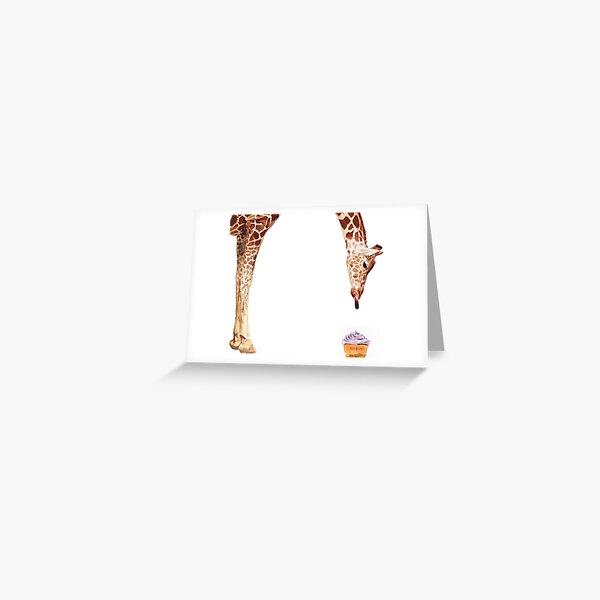 """Licker with Cupcake"" Giraffe Watercolor Greeting Card"