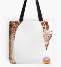 """Licker with Cupcake"" Giraffe Watercolor Tote Bag"