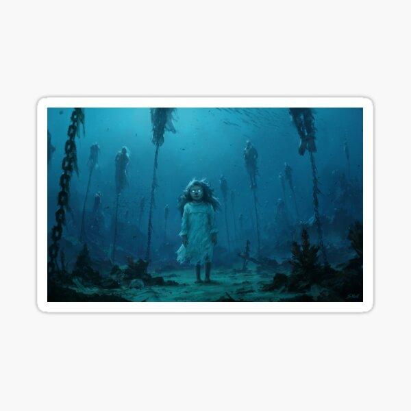 The girl in the sea Sticker