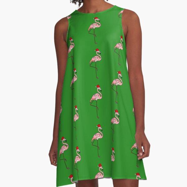 Tropical Christmas Lights Santa Pink Flamingo A-Line Dress