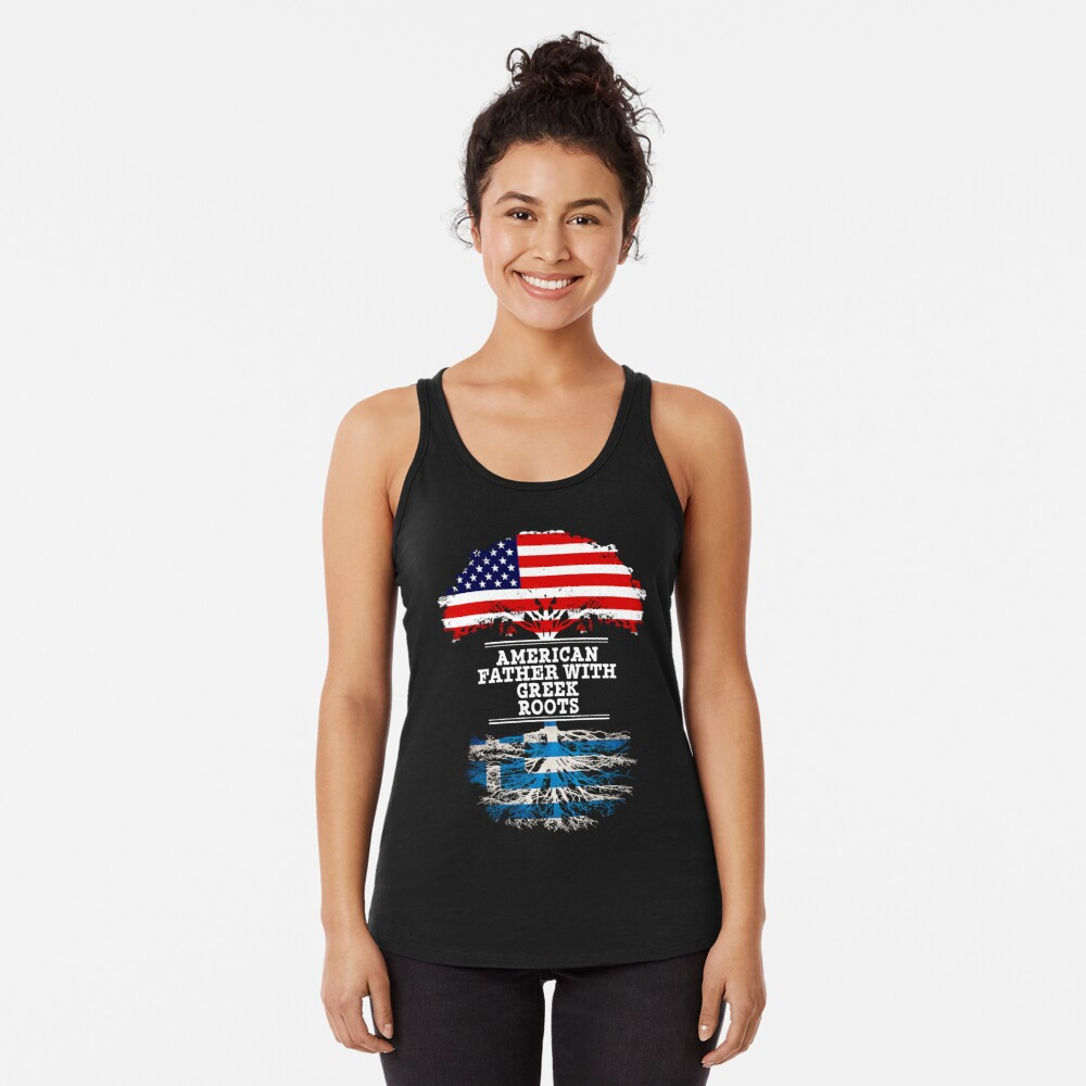 American Father With Greek Roots - Gift For Greek Dad Camiseta con espalda nadadora