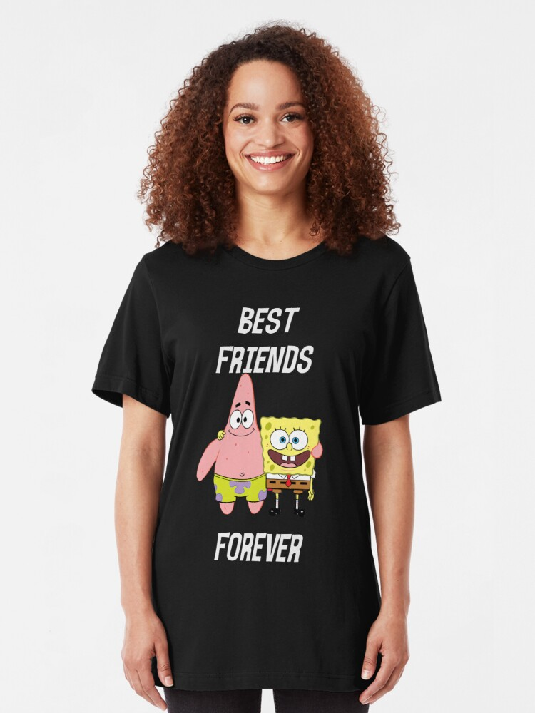 Alternate view of Patrick & Spongebob best friends forever [white text] Slim Fit T-Shirt