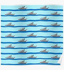 Royal Navy ships on the high seas. Poster