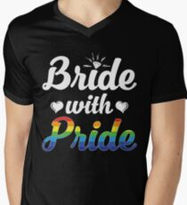 Bride With Pride Lesbian Women Wedding T-shirt Men's V-Neck T-Shirt