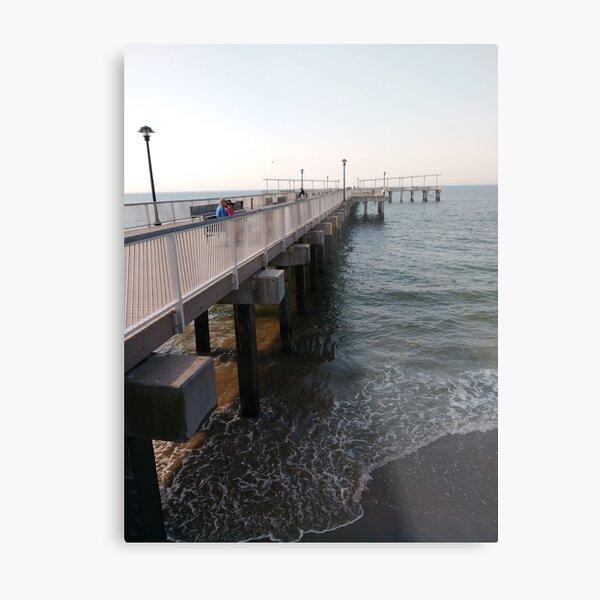 NewYorkCity, #Brooklyn, #ConeyIsland, #ConeyIslandBeach, #water, #beach, #BeachSwimming, #pier Metal Print