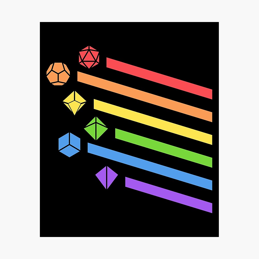 Rainbow Polyhedral Dice Set Lámina fotográfica