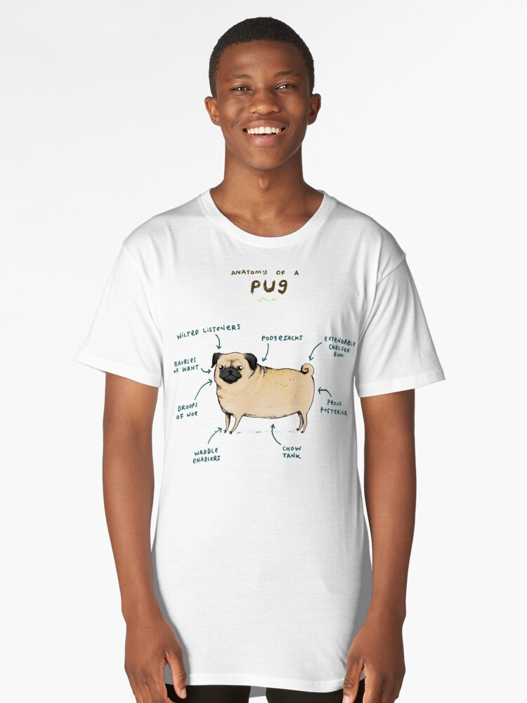Anatomy of a Pug Long T-Shirt Front