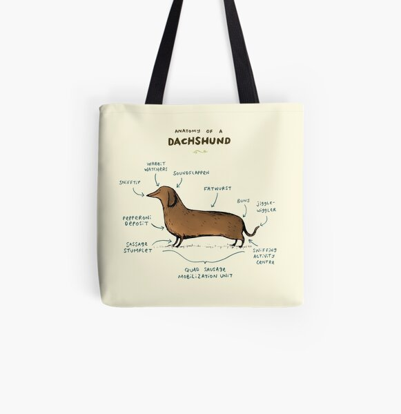 Anatomy of a Dachshund All Over Print Tote Bag