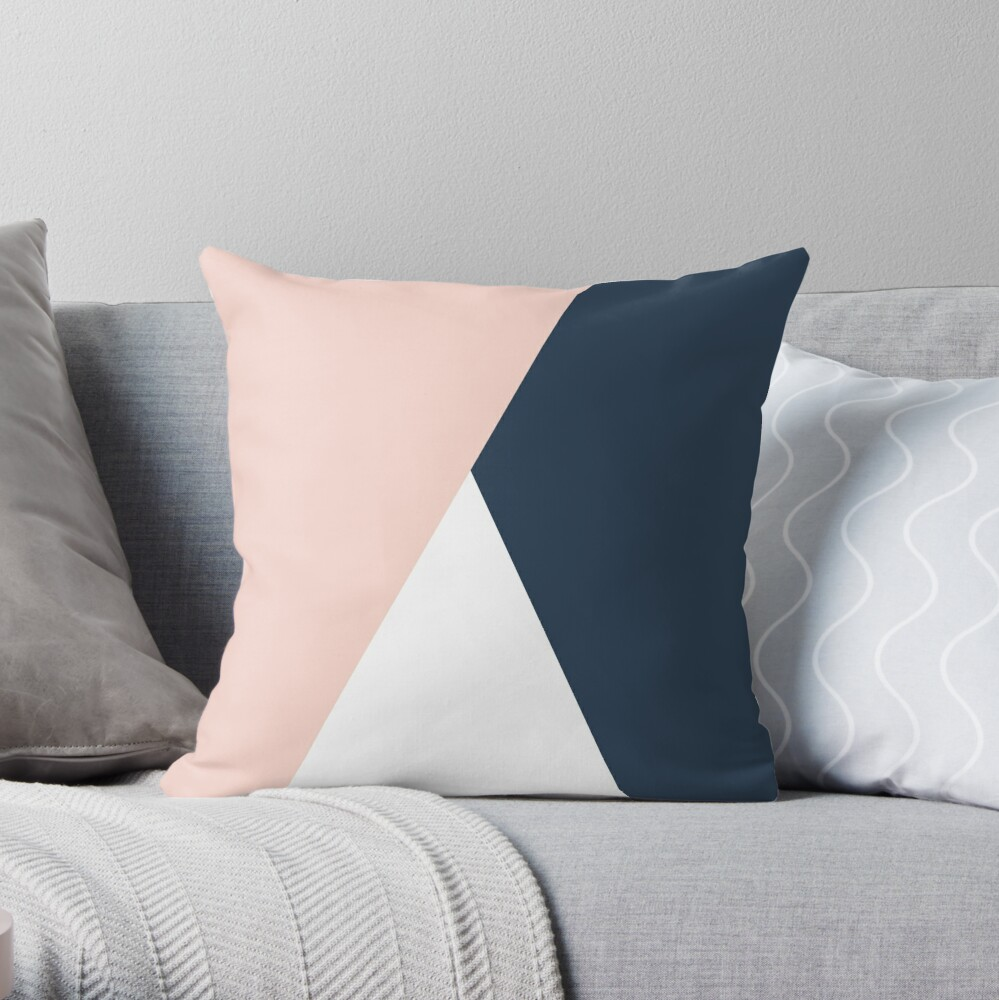 Modern geometric blush pink & navy blue  Throw Pillow