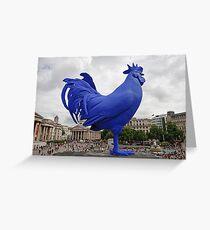 A Blue cockerel lands in Trafalgar Square Greeting Card