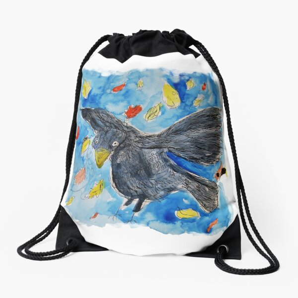A Blackbird and His Little Friends Drawstring Bag