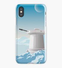 Hoth poster. Starwars retro travel. Ice planet. Tauntaun movie. Empire strikes back. Echo rebel base. Snowspeeder print. Vintage illustration. Fictional Travel. Episode V iPhone Case