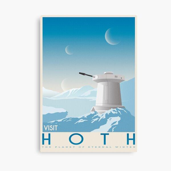 Hoth poster. Starwars retro travel. Ice planet. Tauntaun movie. Empire strikes back. Echo rebel base. Snowspeeder print. Vintage illustration. Fictional Travel. Episode V Canvas Print