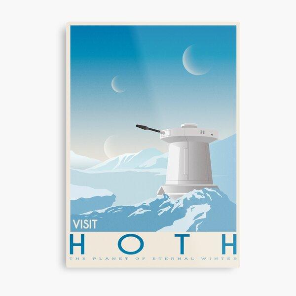 Hoth poster. Starwars retro travel. Ice planet. Tauntaun movie. Empire strikes back. Echo rebel base. Snowspeeder print. Vintage illustration. Fictional Travel. Episode V Metal Print