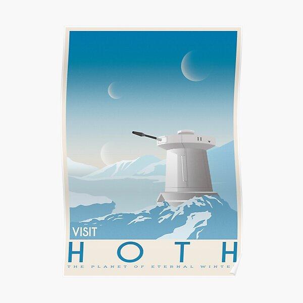 Hoth poster. Starwars retro travel. Ice planet. Tauntaun movie. Empire strikes back. Echo rebel base. Snowspeeder print. Vintage illustration. Fictional Travel. Episode V Poster