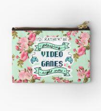 Ich würde vielmehr Videospiele spielen - Blumenhintergrund Täschchen
