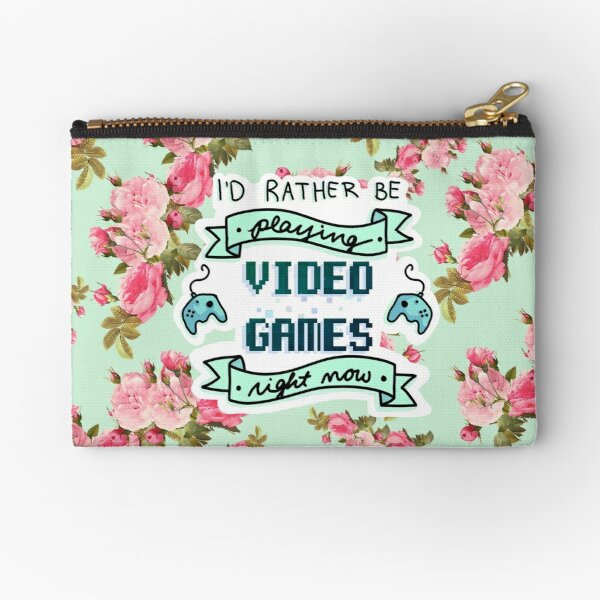 I'd Rather Be Playing Video Games - Floral Background Zipper Pouch
