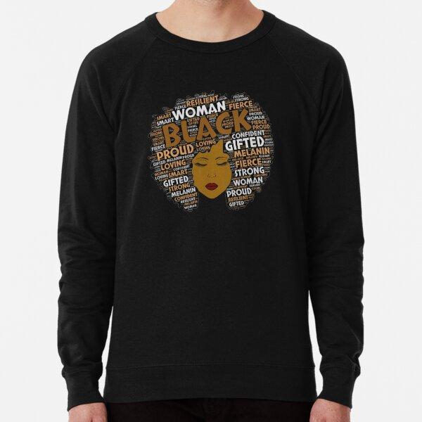 Black Girl / Woman Words in Afro Art Lightweight Sweatshirt