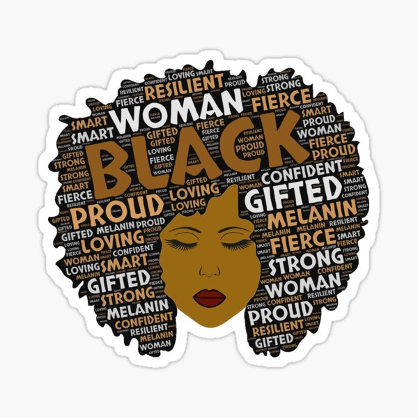 Black Woman Words in Afro Art Sticker