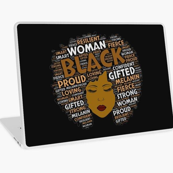 Black Girl / Woman Words in Afro Art Laptop Skin