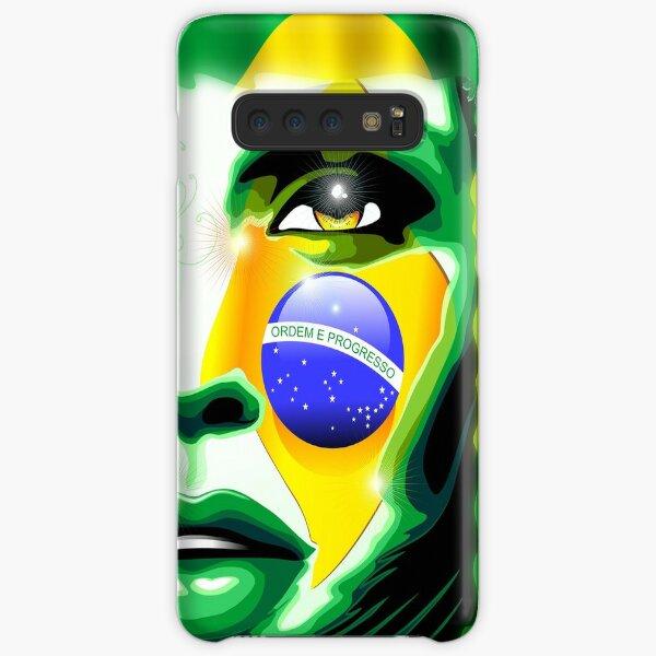 Brazil Flag Colors on Beautiful Girl Portrait Samsung Galaxy Snap Case