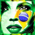 Brazil Flag Colors on Beautiful Girl Portrait by BluedarkArt