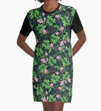 Forest Wildflowers / Dark Background Graphic T-Shirt Dress
