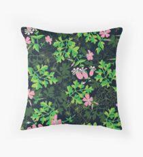 Forest Wildflowers / Dark Background Throw Pillow
