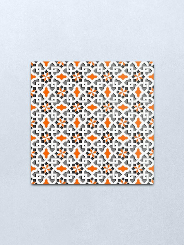 Impression Metallique Noir Blanc Gris Orange Motif Oriental Motif Orient Mosaique Geometrique Style Arabe Par Ohaniki Redbubble