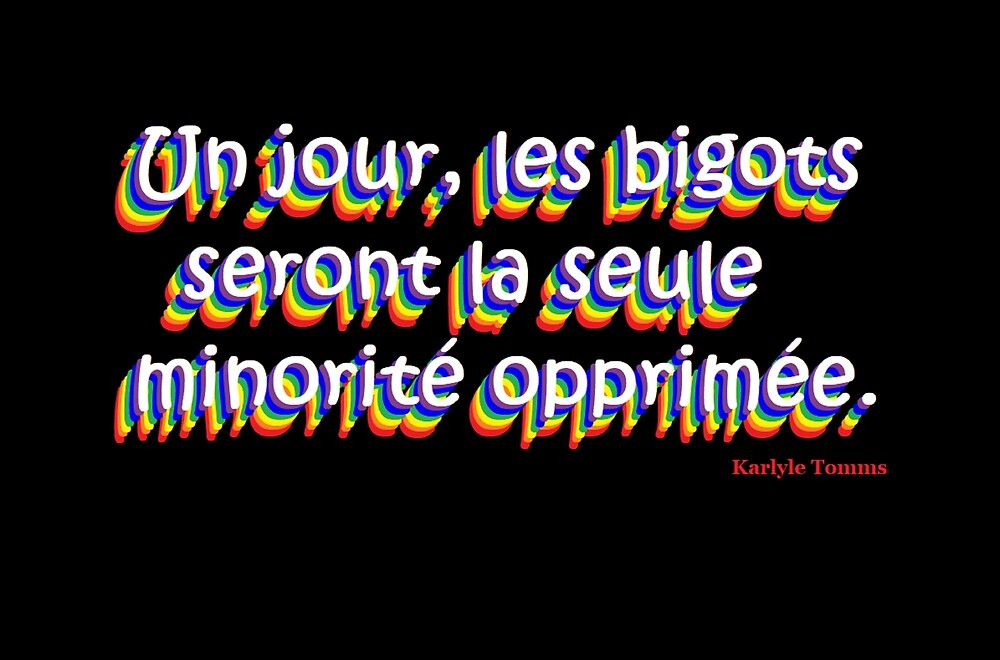 SOMEDAY, BIGOTS WILL BE THE ONLY OPPRESSED MINORITY - French by KarlyleTomms
