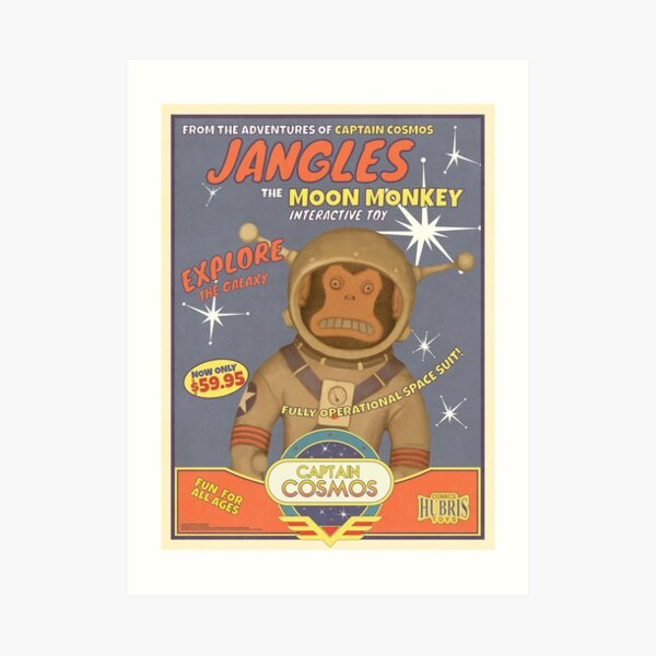 Fallout 4 - Jangles The Moon Monkey - Retro Advertisement Poster Art Print