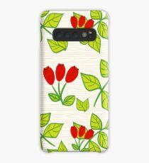 Wild rose on orange lines Case/Skin for Samsung Galaxy