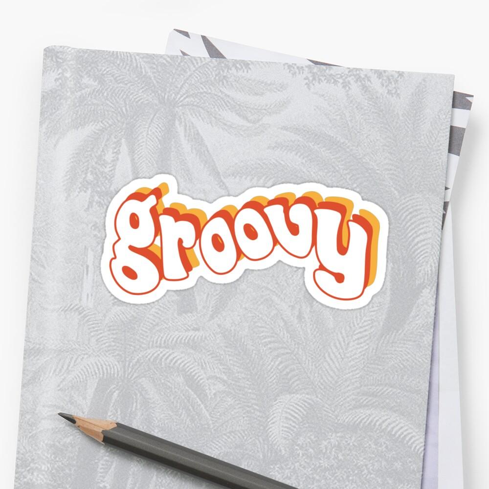 Groovy Retro Orange und Gelb Sticker
