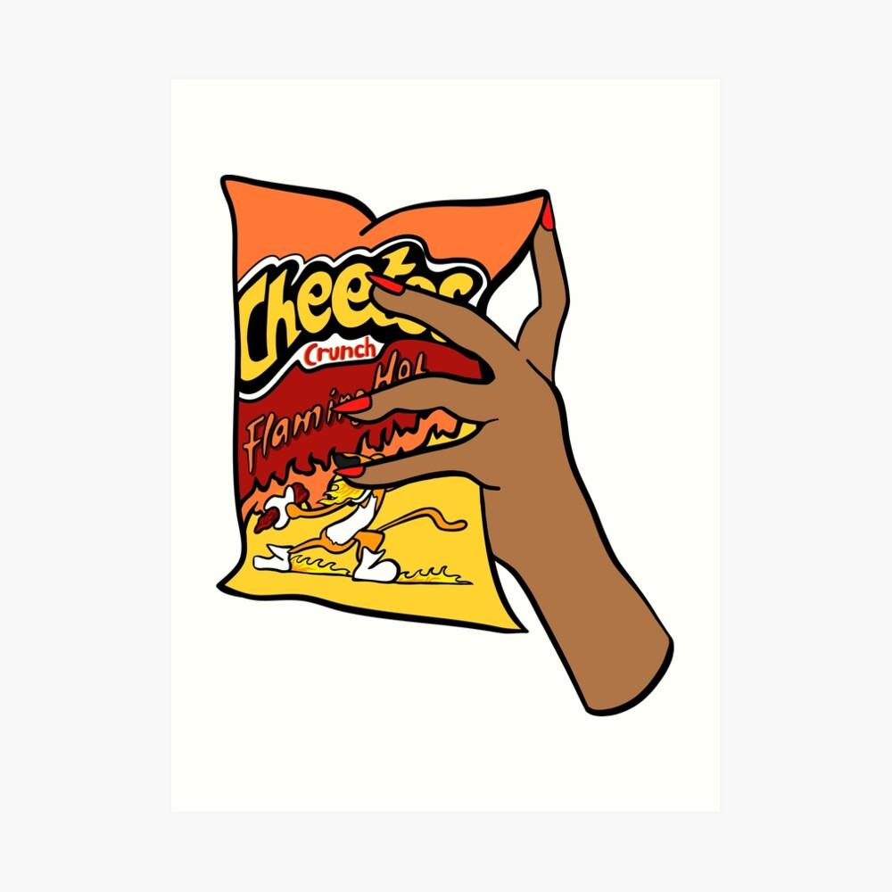 Flammende heiße Cheetos Kunstdruck