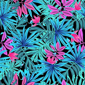 Tropical Neon Psychedelic Flower Pattern by critterville