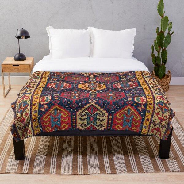 Kazak Antique Oriental Carpet Print Throw Blanket