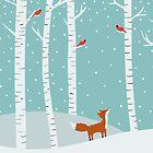 Fox Cardinals Trees Winter by Cristina Bianco Design