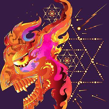 Tatewari - El dios del fuego - Arte chamánico psicodélico de grebenru