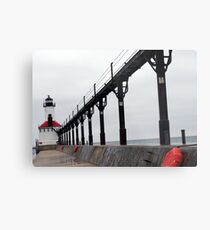 Michigan City, IN Lighthouse on a Dreary Day (Modernism) Metal Print