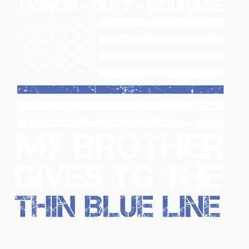 Thin Blue Line Family Shirt   American Flag Proud Brother by orangepieces
