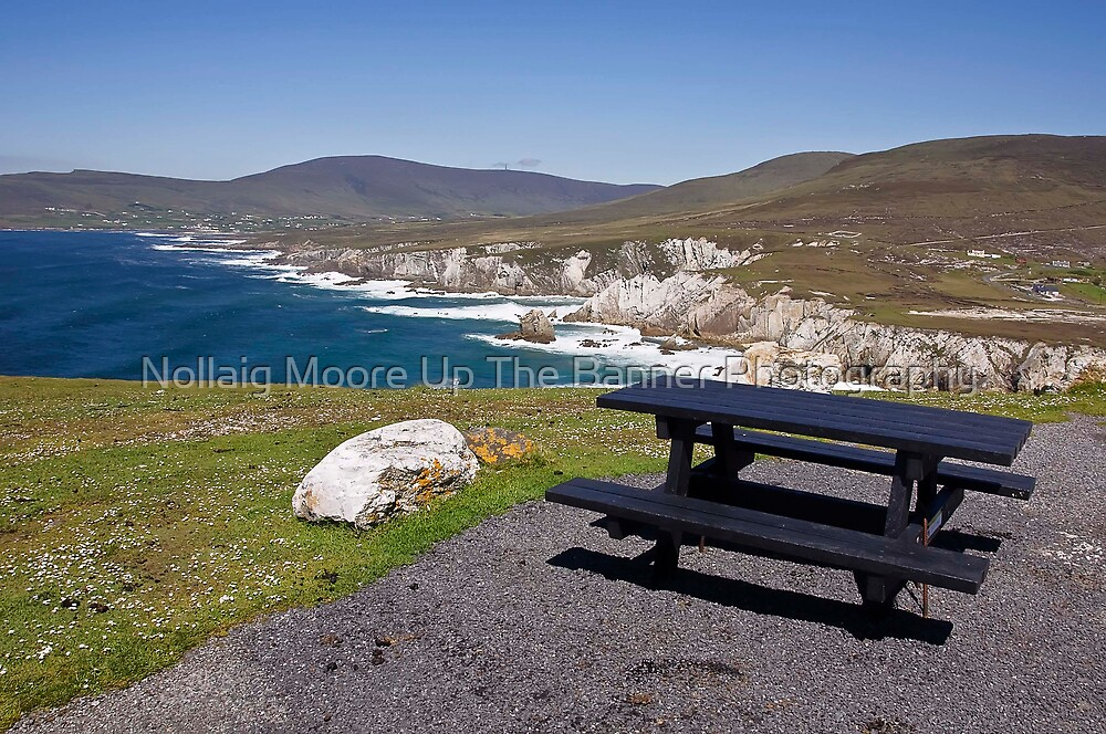 my fav picnic table seascape view from achill island, ireland by Noel Moore Up The Banner Photography